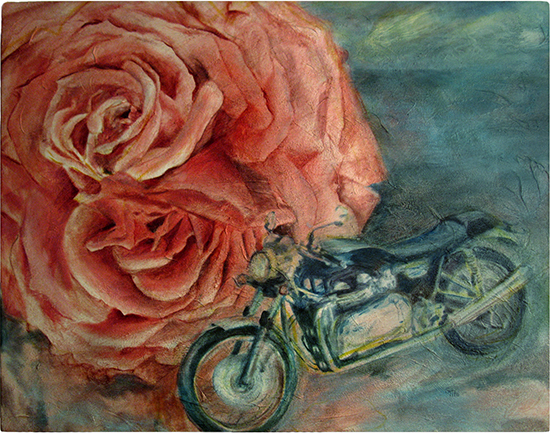Collide [Can't Fluff Motorcycle] (Oil painting)
