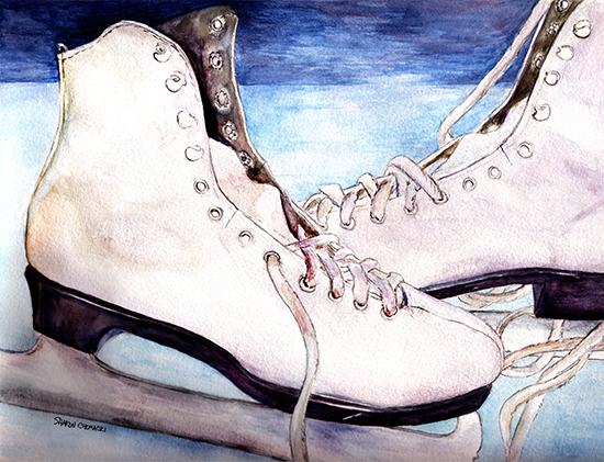 Beth's Skates (Watercolor painting)