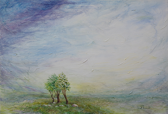 Before The Storm When Leaves Turn White (Oil painting)