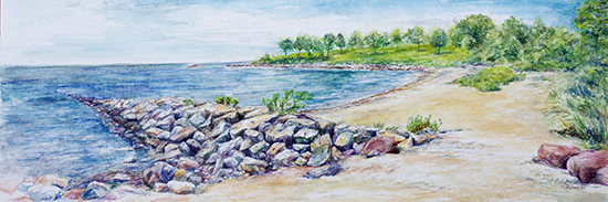 Hole in the Wall Beach (Watercolor painting)
